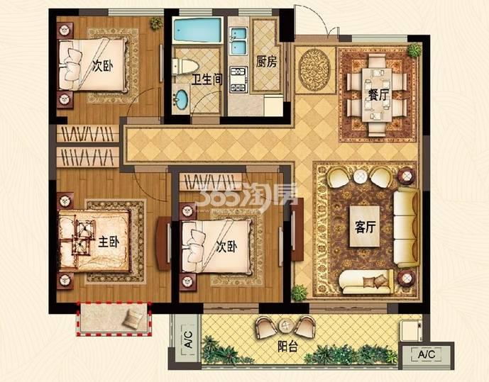 户型:3室2厅 面积:103�O