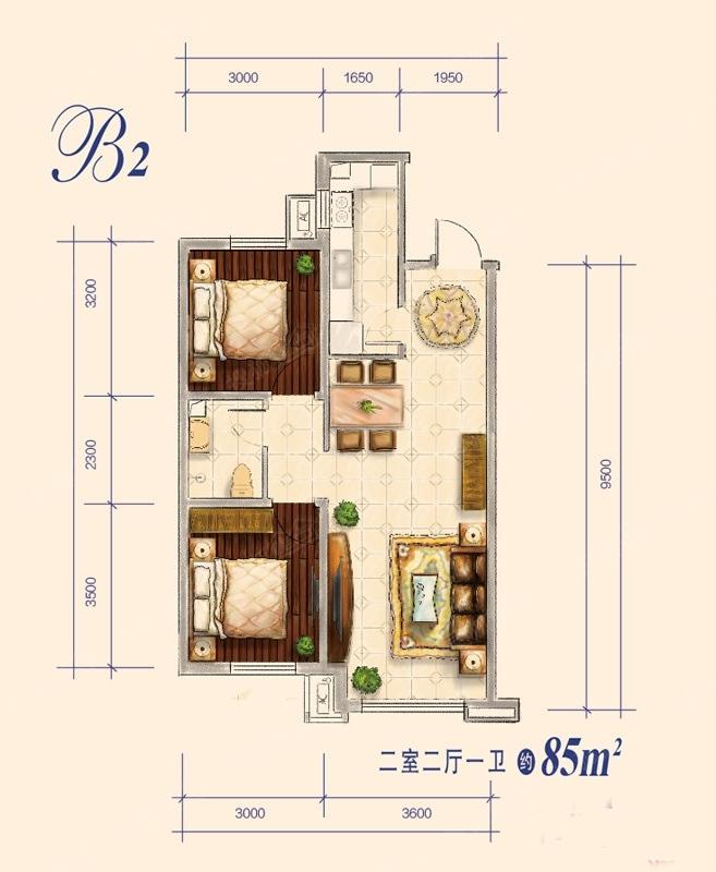 85平米 2室2厅1卫