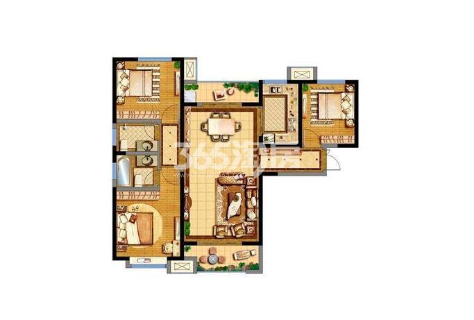 德杰德裕天下15#楼3室2厅2卫1厨123.39平