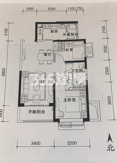 恒大翡翠龙庭2室2厅1卫1厨77平户型图(格局同79平)