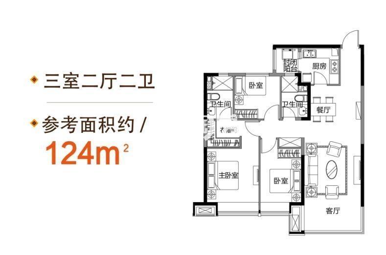 恒大滨江左岸户型图3室2厅2卫