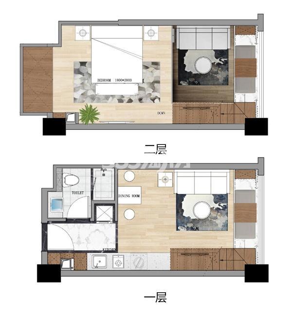 永乐国际37平LOFT公寓户型图