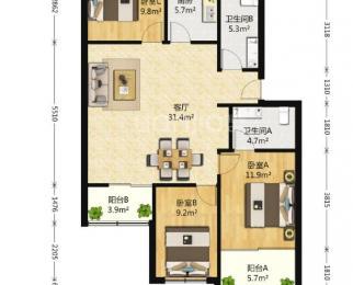 广兴花园3室2厅2卫2阳台满五唯一婚装房