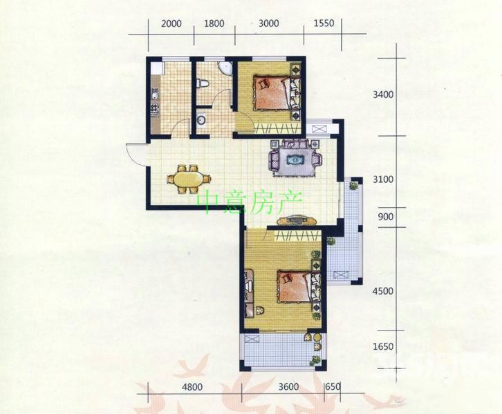 国购广场22楼2室2厅92.5平精装