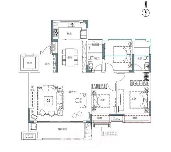 保利香颂卢浮152平户型图(边户)