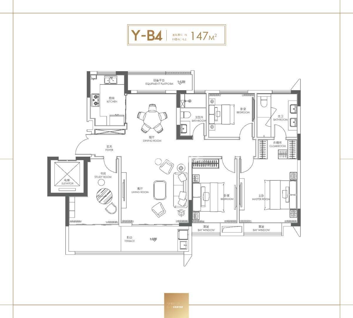 安庆置地安庆中心Y-B户型四室两厅两卫147㎡户型图
