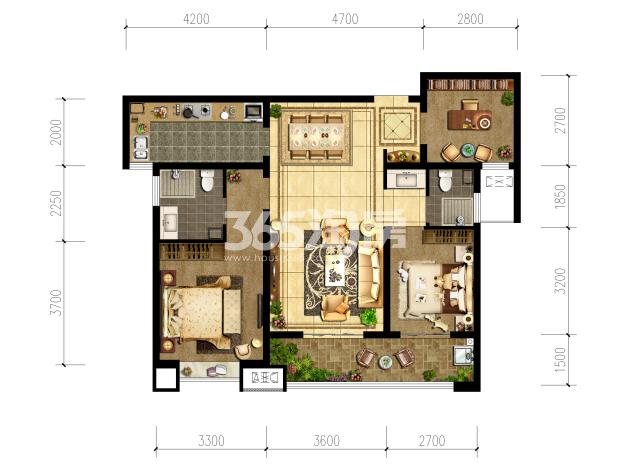 清凉云晖三室两厅110㎡户型图