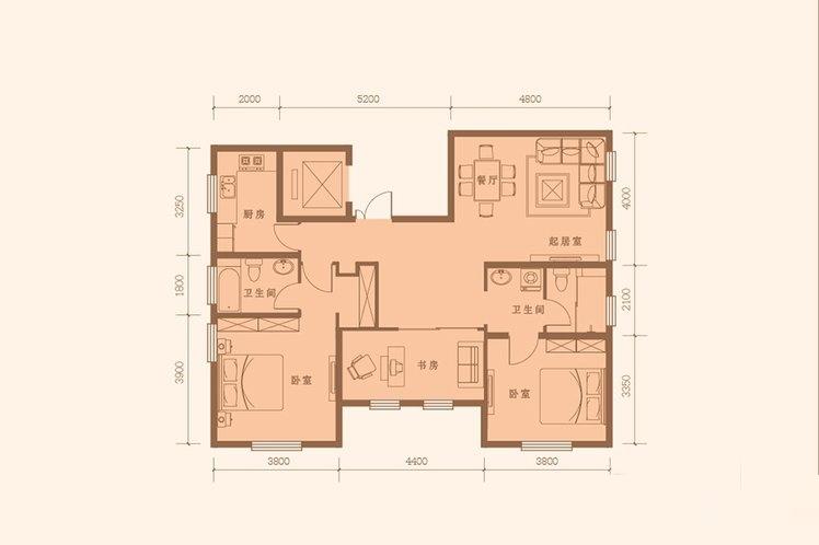 126平米 3室2厅2卫
