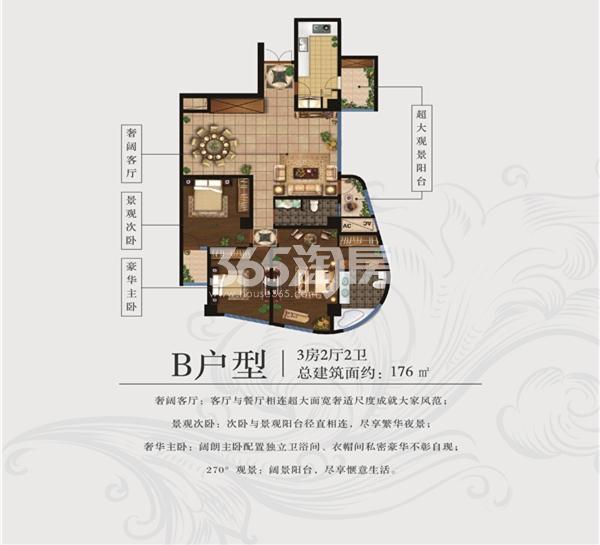 百乐门文化经贸广场 B户型 三室两厅 176㎡