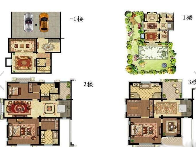 景枫你山299㎡3室3厅4卫户型图