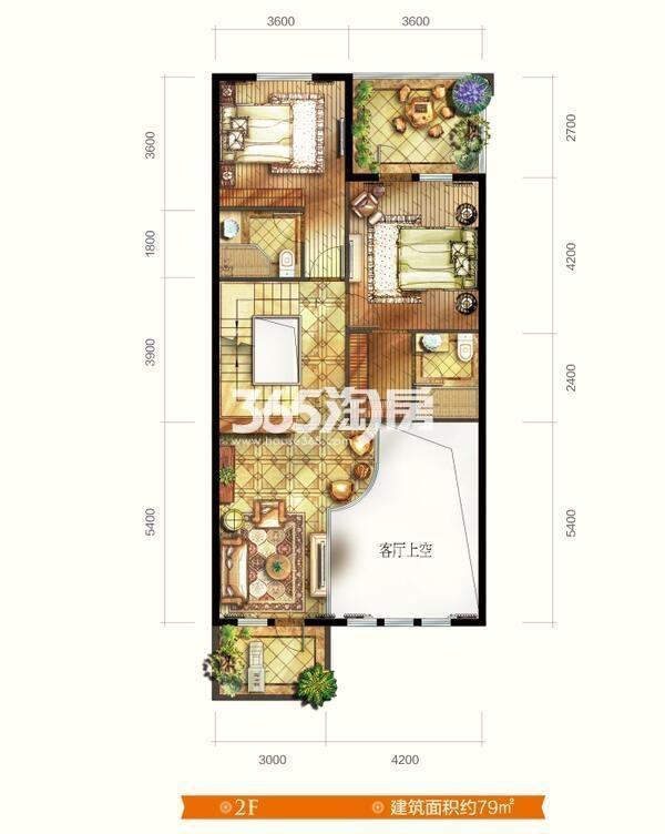 别墅V7户型 五室三厅四卫 建筑面积约265㎡  二层平面图