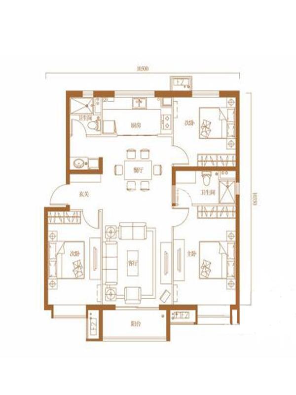 万科金域蓝湾3室2厅2卫1厨136平(137平)户型