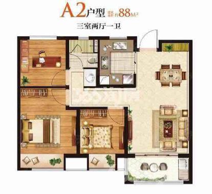 远洋心里3室3厅1卫88平米毛坯产权房2018年建