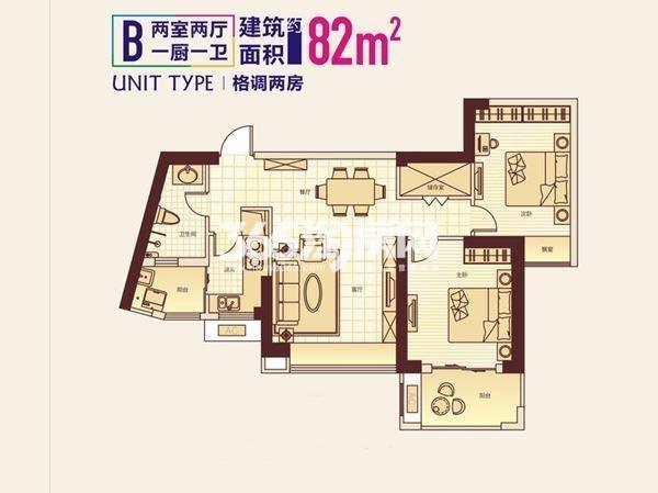 顶琇国际城2室2厅1卫1厨82.00㎡1#B户型
