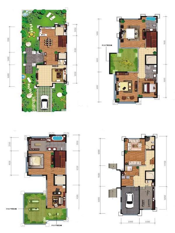 枫林九溪联排别墅H01户型6室3厅6卫1厨385㎡