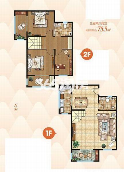上上墅三室两厅两卫75.5㎡户型图