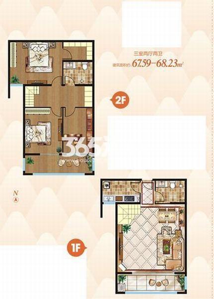 上上墅三室两厅两卫67.59-68.23㎡户型图