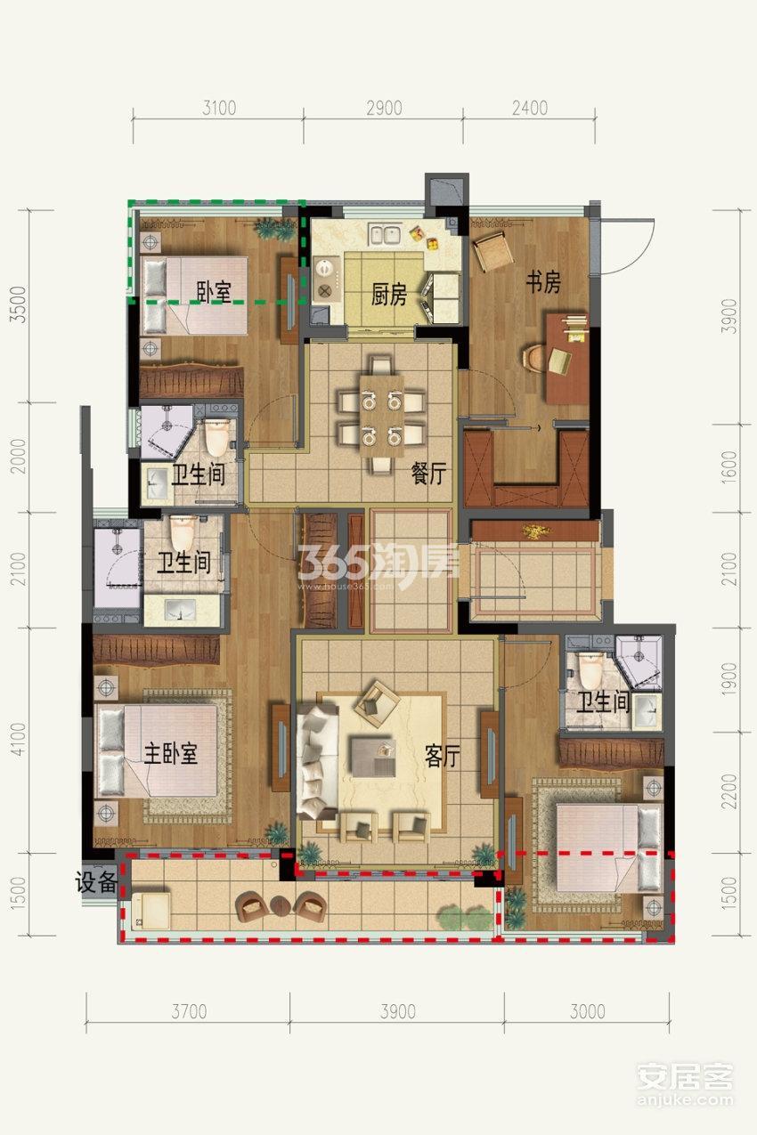 璞丽东方洋房127方户型4室2厅3卫