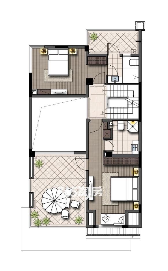 鹭山湖山居小院(双拼)二层(面积:245平+180平地下室+两车位)