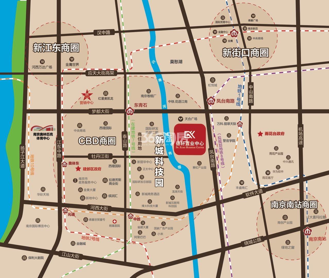 德轩置业中心交通图