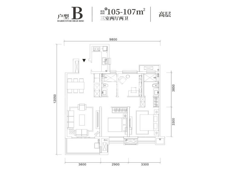 世茂璀璨倾城B户型3室2厅2卫105平米