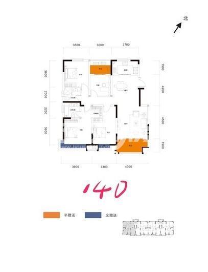 阳光城翡丽曲江洋房4室2厅2卫1厨140平户型