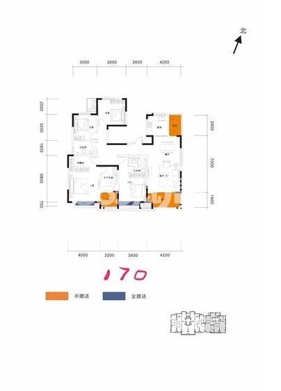 阳光城翡丽曲江洋房4室2厅3卫1厨170平户型