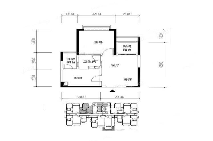 恒大翡翠龙庭11#楼户型1室2厅1卫1厨59.00㎡