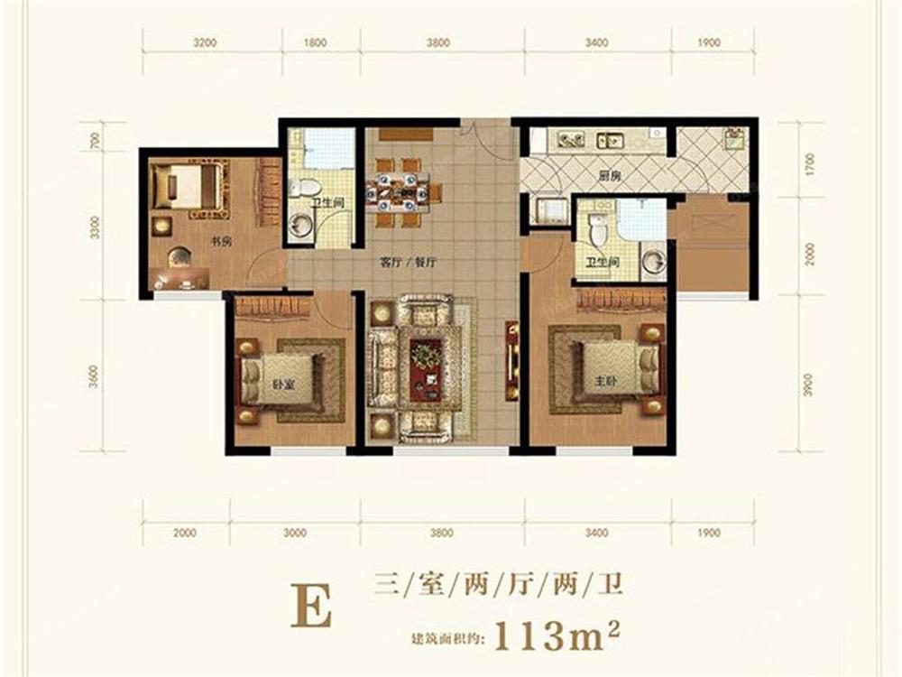 E户型 2室2厅2卫 113平米