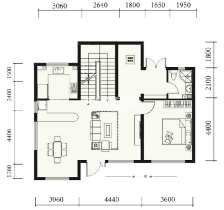 户型图 双拼180㎡户型 180.00平米 三室