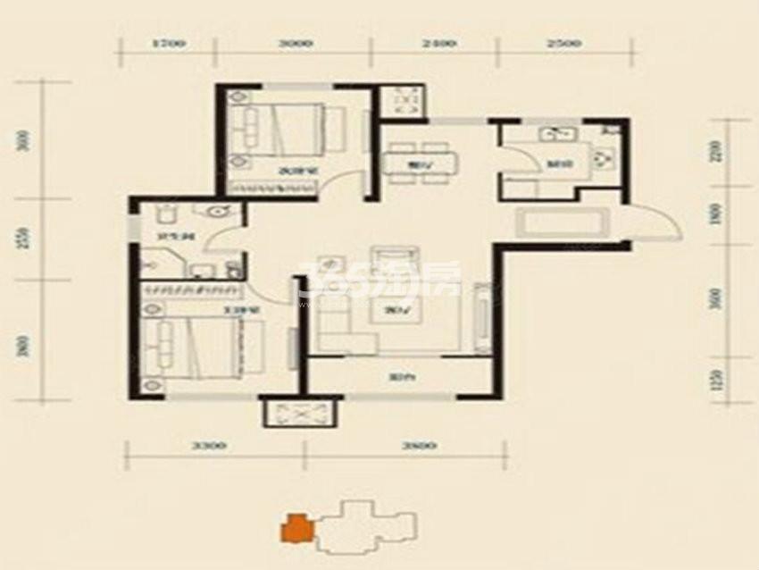 户型图 I户型95.31平米 二室