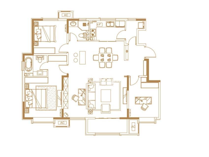 户型图 洋房C户型 143.00平米 三室