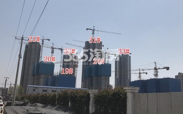 荣盛花语城二期高层多栋已封顶 19-24#楼约建至6-10层(4.17)