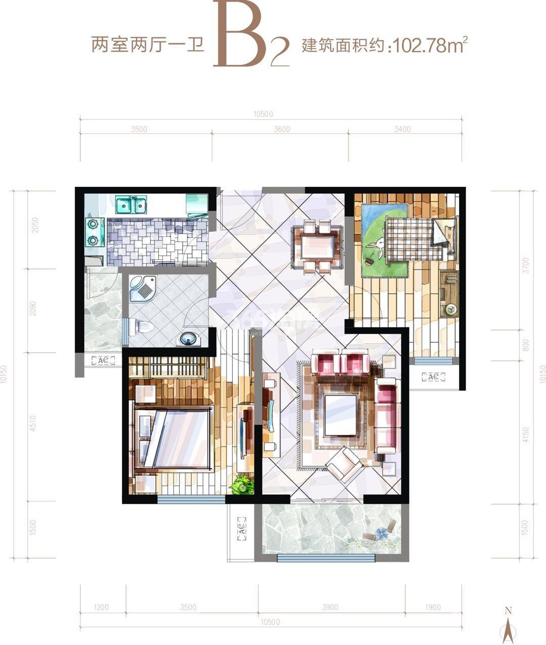 华安紫竹苑B2两室两厅一厨一卫102.78㎡