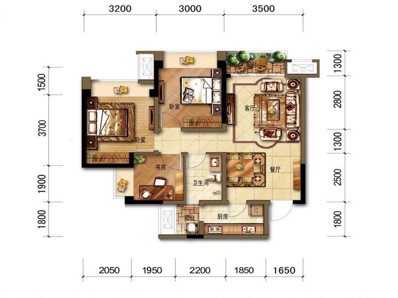 B1户型三室两厅卫 81平