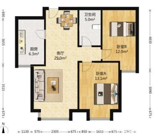 北开花园2室2厅1卫89.36平米2010年产权房简装可议价