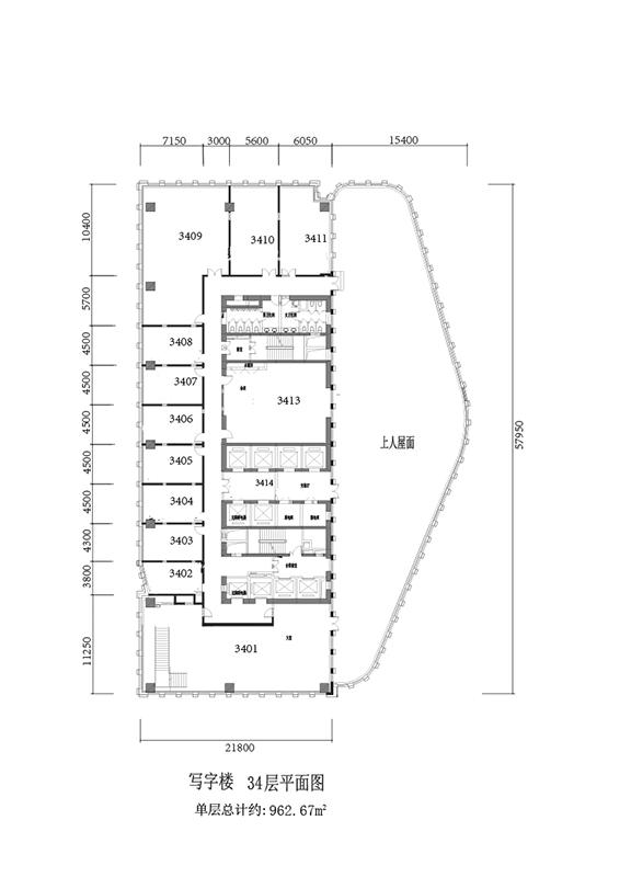 写字楼34层平面图