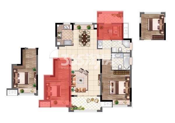 弘阳时光山湖88㎡三房两厅一卫户型