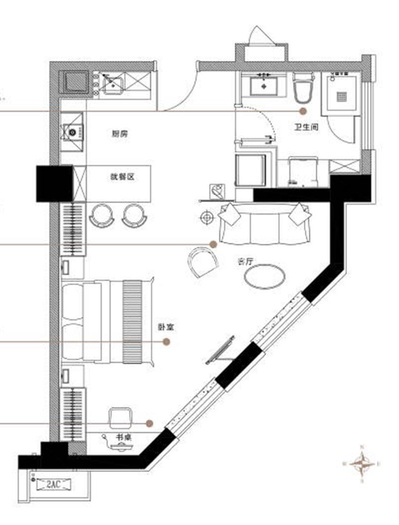 绿地·观澜湾公寓约66平D户型