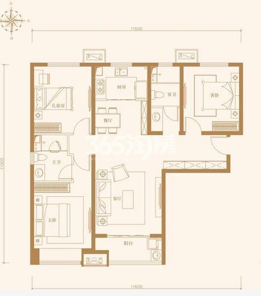 中南青樾三室两厅125㎡户型图