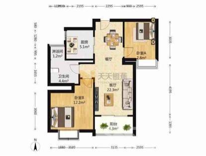绿地之窗二期2室2厅1卫87平米精装产权房2016年建满五年