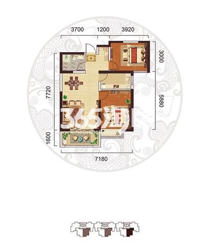 阳光台365 C户型两室两厅一卫85.95㎡