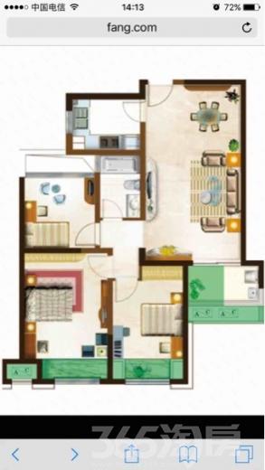 新北绿都万和城3室2厅1卫97.6�O