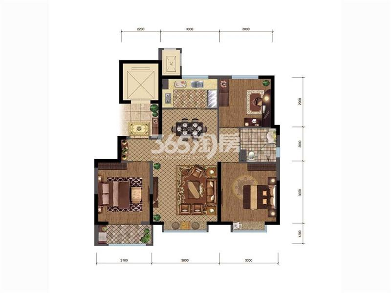 三居户型,3室2厅1卫,106平米