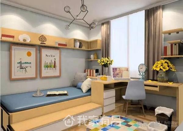 餐厅采用卡座与吊柜组合形式,性价比很高,方便储物也很有情趣;而客厅部分设计师选择的是当下非常流行的北欧风格,万科的地板和门都是浅色,适合北欧简洁时尚感的配合与发挥,原木色与白色相辅相成,加上黄色作为点缀,简约不显得单调,现代感十足。 卧室效果图