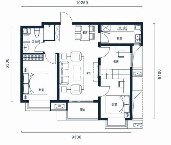 万科高新华府三室两厅一卫90平米户型图