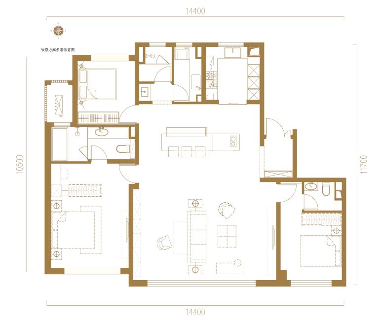中南君启B户型四室两厅一厨两卫166平方米户型图