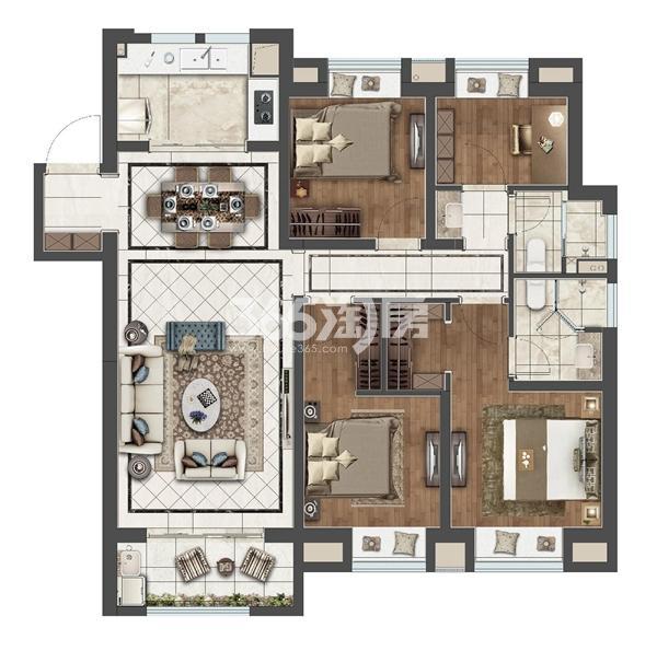 无锡融创文化旅游城塔尖143平D1户型