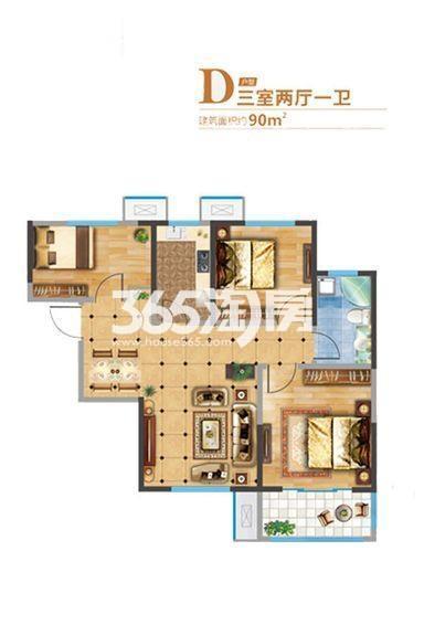 悦美国际2期7#/8#D户型3室2厅1厨1卫90.00㎡