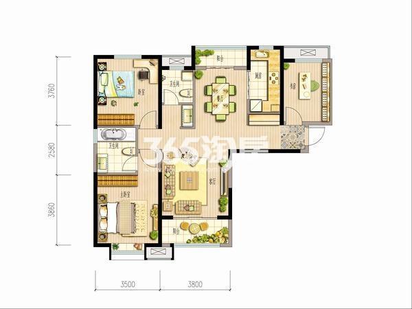大华锦绣前城三室两厅一厨两卫122平米